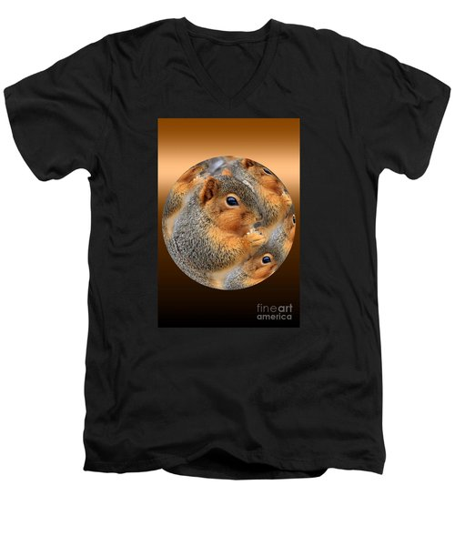 Squirrel In A Ball No.3 Men's V-Neck T-Shirt