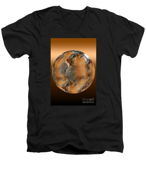 Squirrel In A Ball Men's V-Neck T-Shirt