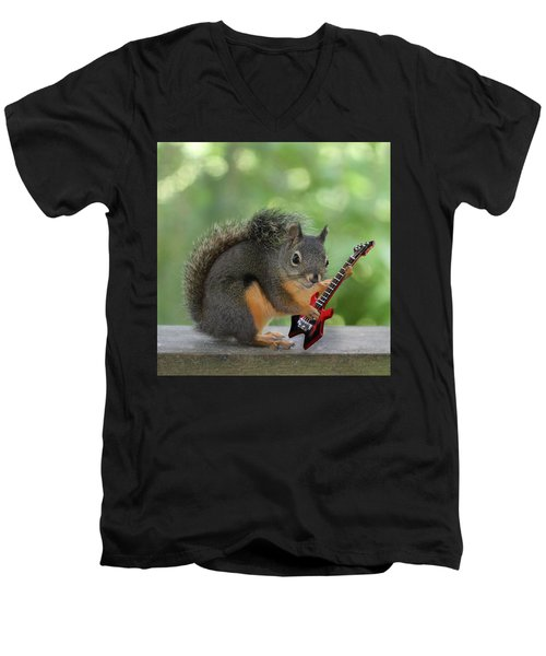 Squirrel Playing Electric Guitar Men's V-Neck T-Shirt by Peggy Collins