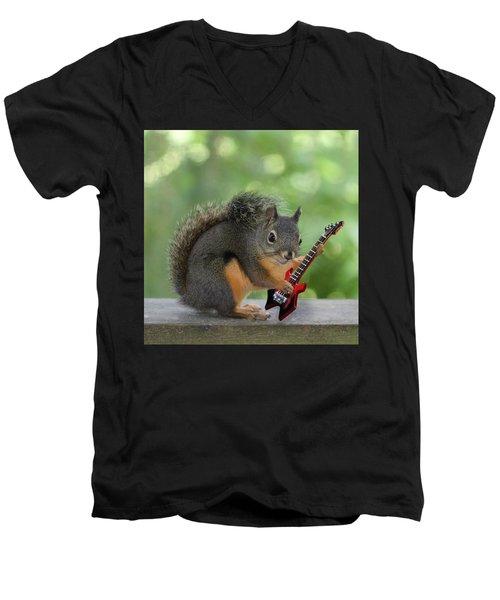 Squirrel Playing Electric Guitar Men's V-Neck T-Shirt