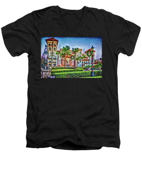 St. Augustine Downtown Christmas Men's V-Neck T-Shirt