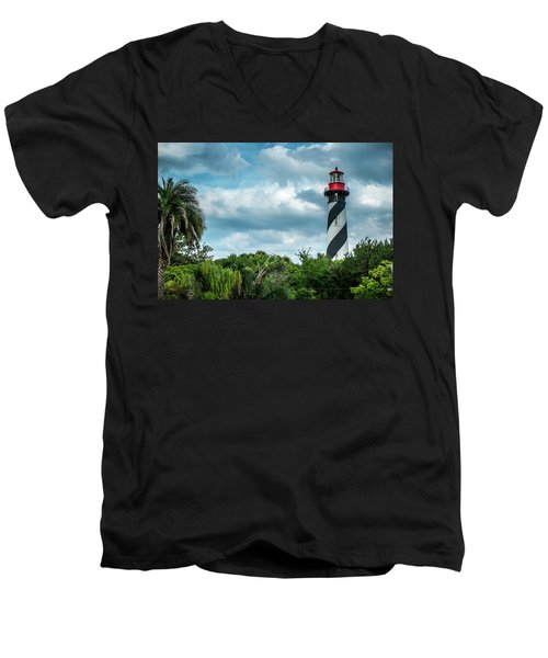 Men's V-Neck T-Shirt featuring the photograph St. Augustine Lighthouse by Louis Ferreira