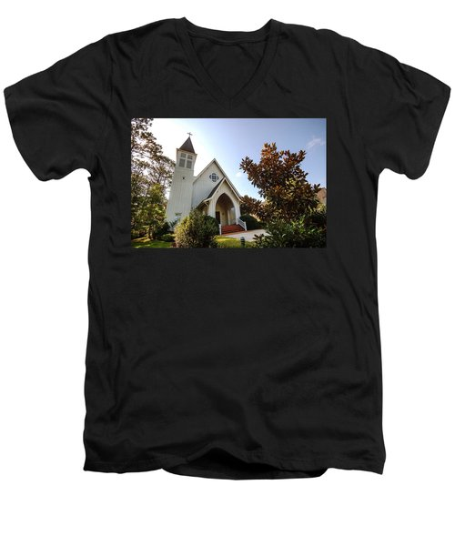 Men's V-Neck T-Shirt featuring the photograph St. James V4 Fairhope Al by Michael Thomas
