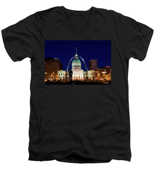 Men's V-Neck T-Shirt featuring the photograph St. Louis by Steve Stuller