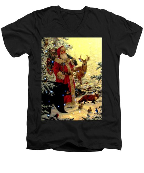 Men's V-Neck T-Shirt featuring the photograph St Nick  And Friends by Judyann Matthews