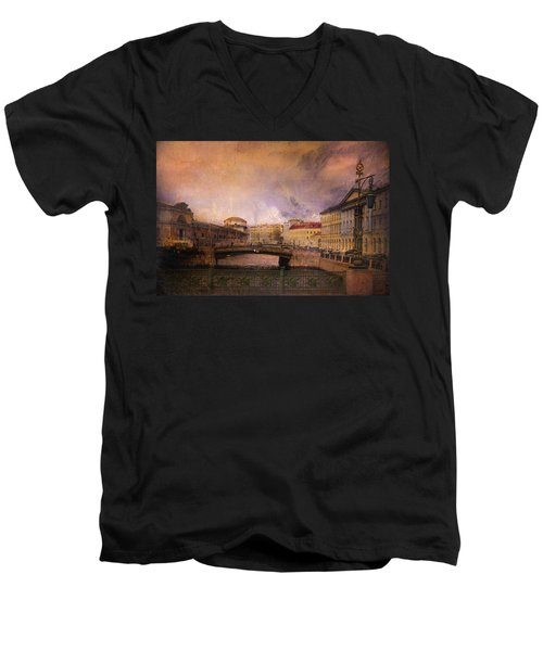 Men's V-Neck T-Shirt featuring the photograph St Petersburg Canal by Jeff Burgess