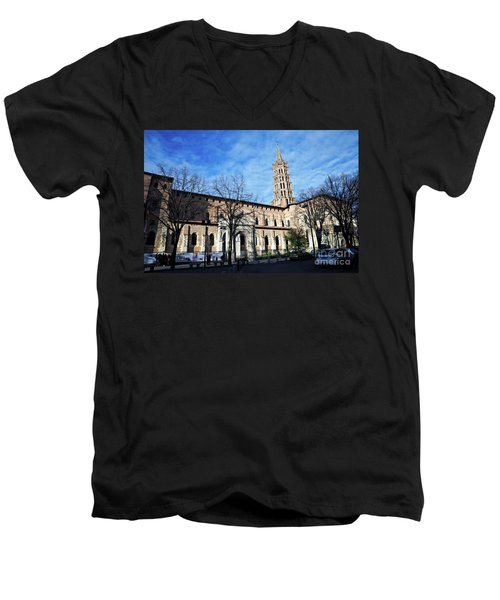 Men's V-Neck T-Shirt featuring the photograph St Sernin Basilica by Cendrine Marrouat