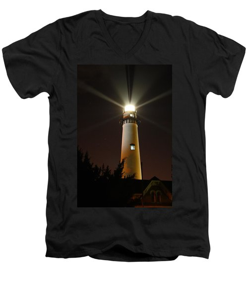 Men's V-Neck T-Shirt featuring the photograph St Simons Island Lighthouse by Kathryn Meyer