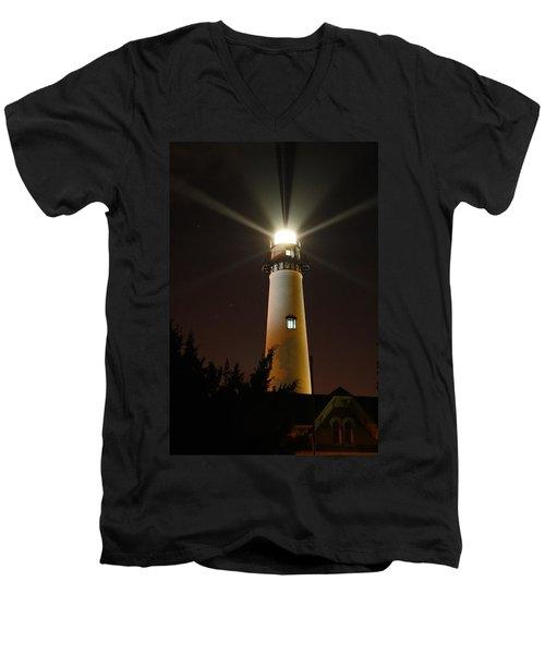 St Simons Island Lighthouse Men's V-Neck T-Shirt by Kathryn Meyer