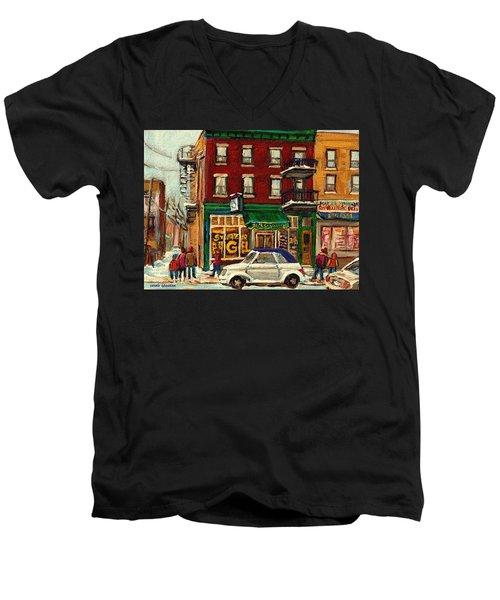 St Viateur Bagel And Mehadrins Deli Men's V-Neck T-Shirt