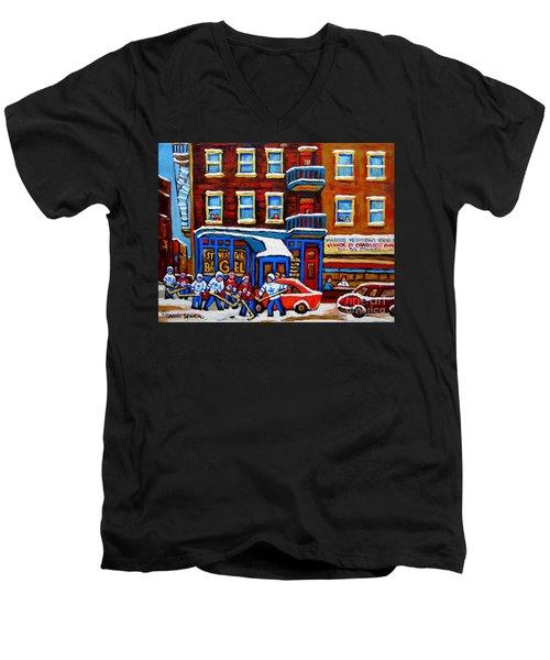 St Viateur Bagel With Hockey Montreal Winter Street Scene Men's V-Neck T-Shirt