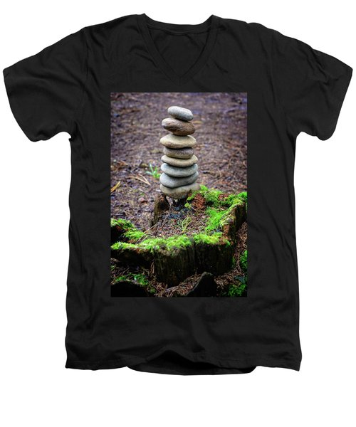 Men's V-Neck T-Shirt featuring the photograph Stacked Stones And Fairy Tales II by Marco Oliveira