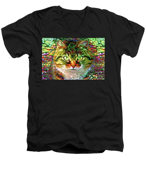 Stained Glass Cat Men's V-Neck T-Shirt