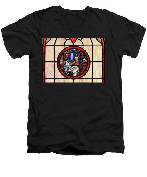 Stained Glass Nativity Window Men's V-Neck T-Shirt