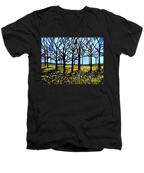 Stained Glass Trees Men's V-Neck T-Shirt