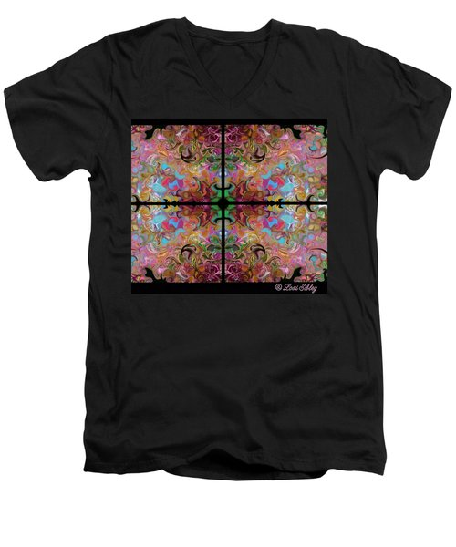 Stained Glass Window Men's V-Neck T-Shirt by Loxi Sibley