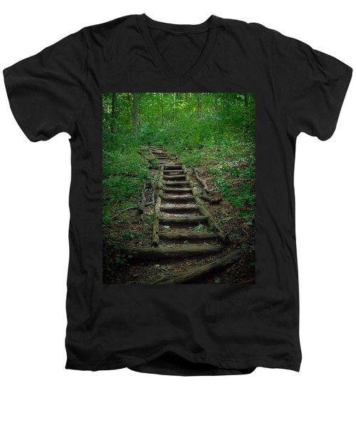 Stairway At Unicoi Gap On The At Men's V-Neck T-Shirt
