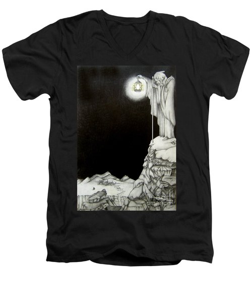 Men's V-Neck T-Shirt featuring the drawing Stairway To Heaven by Patrice Torrillo
