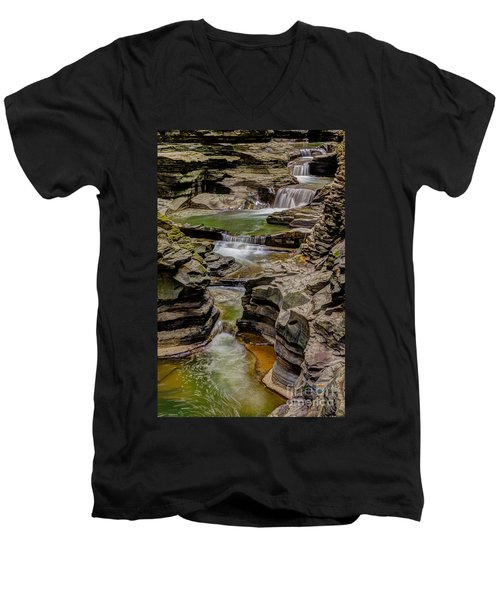 Stairway Waterfalls Men's V-Neck T-Shirt