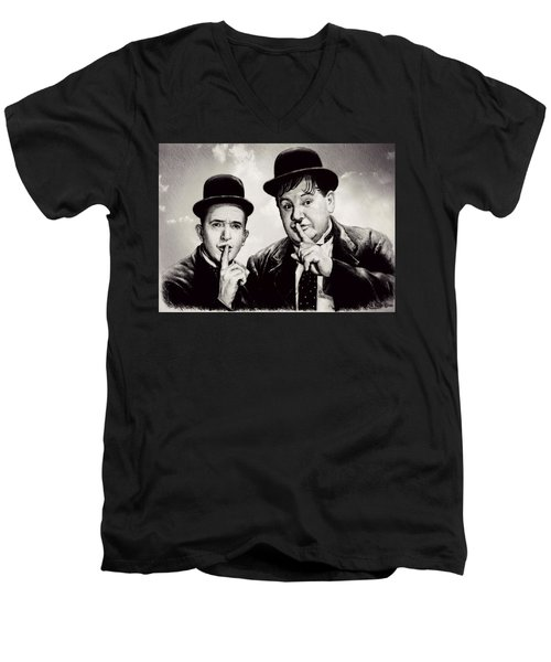 Stan And Ollie Comedy Duos Men's V-Neck T-Shirt