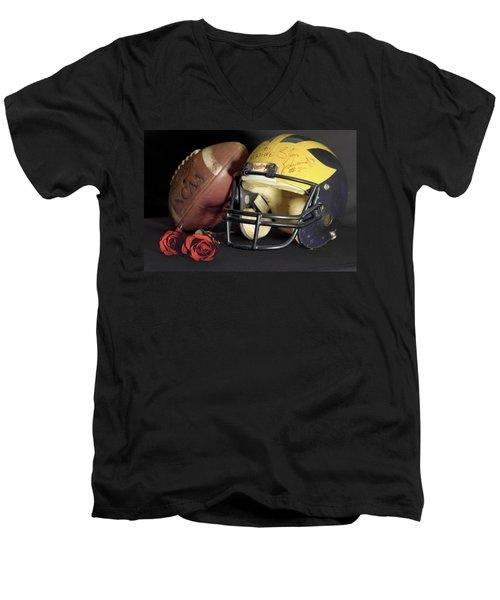 Stan Edwards's Autographed Helmet With Roses Men's V-Neck T-Shirt