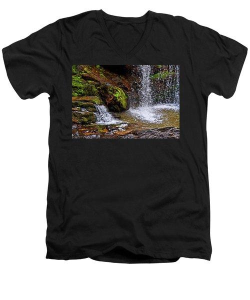 Standing In Motion - Brasstown Falls 011 Men's V-Neck T-Shirt by George Bostian