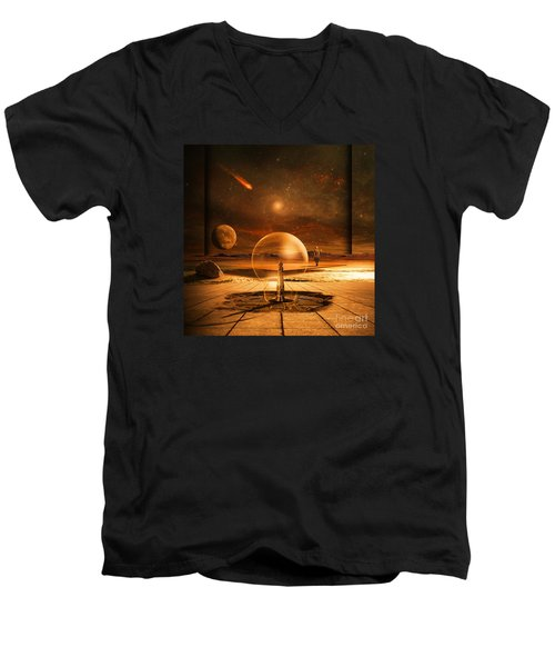 Men's V-Neck T-Shirt featuring the digital art Standing In Time by Franziskus Pfleghart