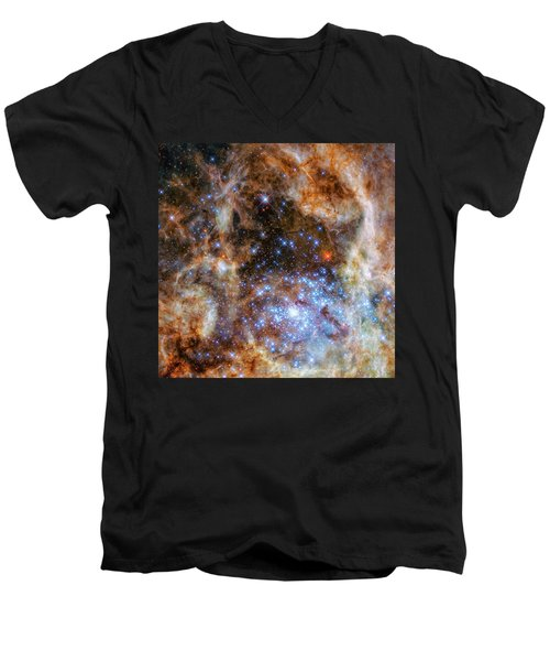 Men's V-Neck T-Shirt featuring the photograph Star Cluster R136 by Marco Oliveira