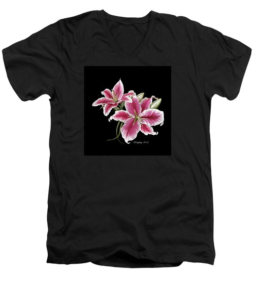 Star Gazer Lillies Men's V-Neck T-Shirt