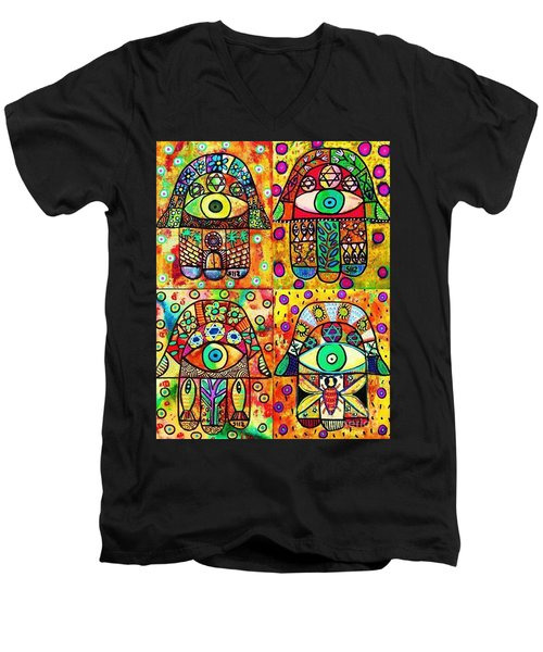 Star Of David Hamsa Men's V-Neck T-Shirt by Sandra Silberzweig