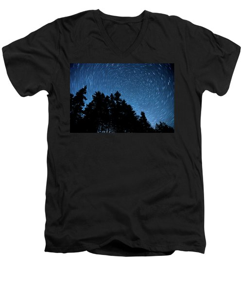 Star Trails In Acadia Men's V-Neck T-Shirt