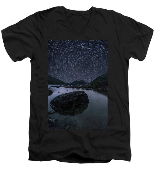 Star Trails Over Jordan Pond Men's V-Neck T-Shirt