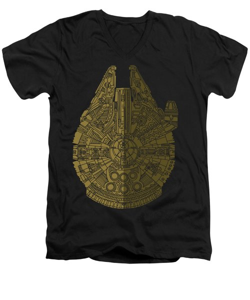 Star Wars Art - Millennium Falcon - Black, Brown Men's V-Neck T-Shirt
