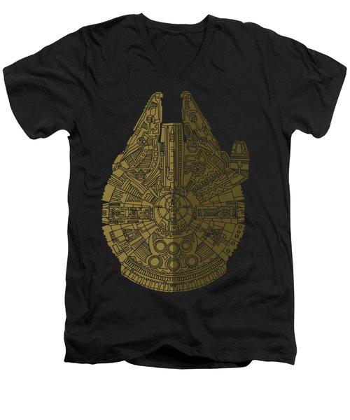 Star Wars Art - Millennium Falcon - Black, Brown Men's V-Neck T-Shirt