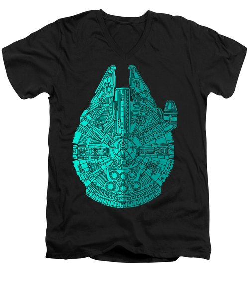 Star Wars Art - Millennium Falcon - Blue 02 Men's V-Neck T-Shirt