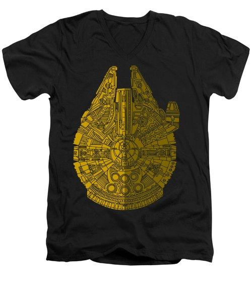 Star Wars Art - Millennium Falcon - Brown Men's V-Neck T-Shirt