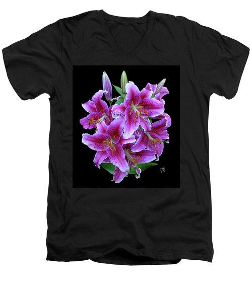 Stargazer Lily Cutout Men's V-Neck T-Shirt