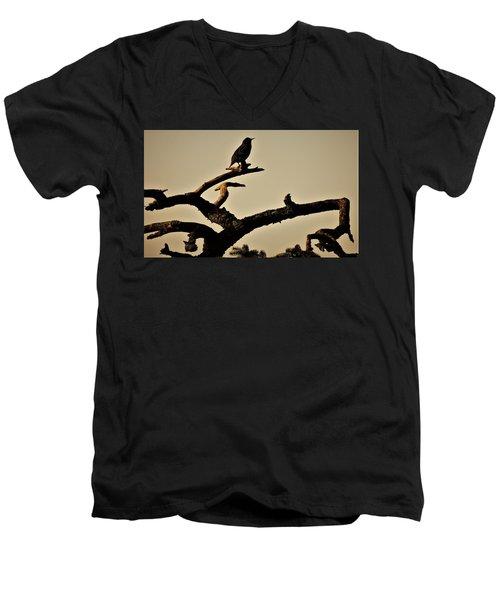 Men's V-Neck T-Shirt featuring the photograph Starling by Karen Horn