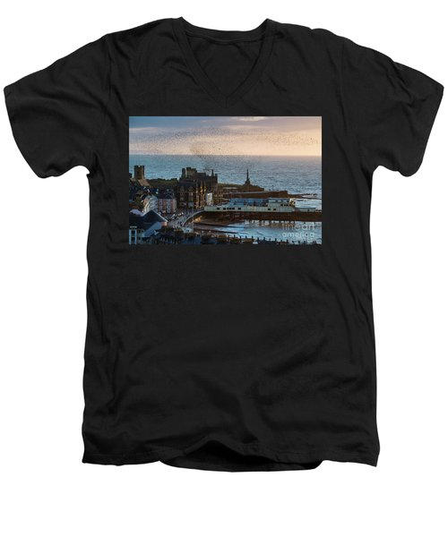 Starlings Over Aberystwyth On The West Wales Coast Men's V-Neck T-Shirt