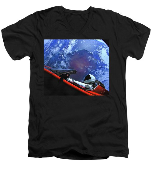 Starman In Tesla With Planet Earth Men's V-Neck T-Shirt