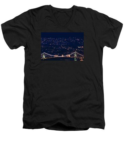 Men's V-Neck T-Shirt featuring the photograph Starry Lions Gate Bridge - Mdxxxii By Amyn Nasser by Amyn Nasser