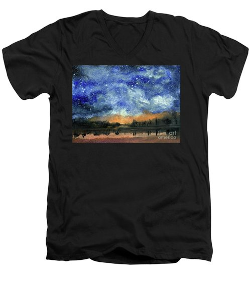 Starry Night Across Our Lake Men's V-Neck T-Shirt by Randy Sprout