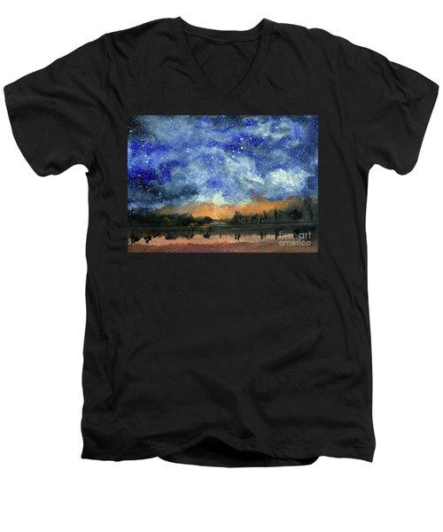 Starry Night Across Our Lake Men's V-Neck T-Shirt