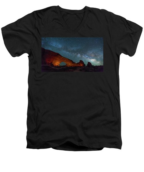 Starry Night At North Window Rock Men's V-Neck T-Shirt