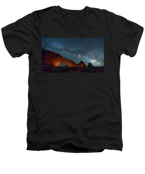 Starry Night At North Window Rock Men's V-Neck T-Shirt