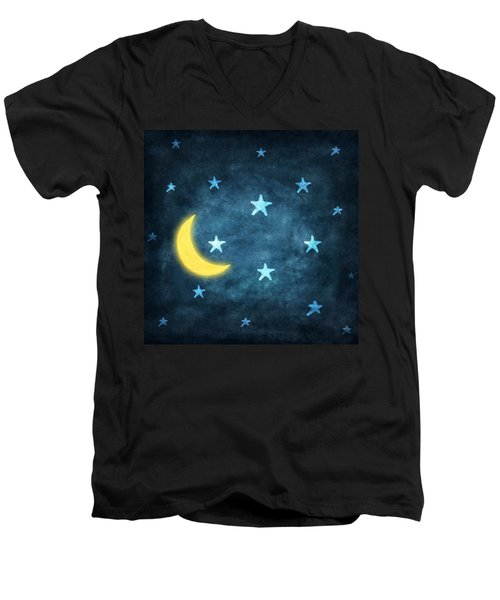 Stars And Moon Drawing With Chalk Men's V-Neck T-Shirt