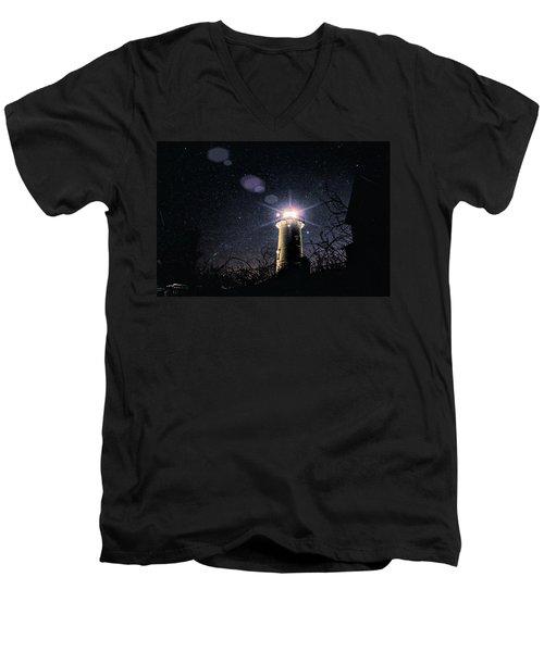 Stars Over Nobska Lighthouse Men's V-Neck T-Shirt