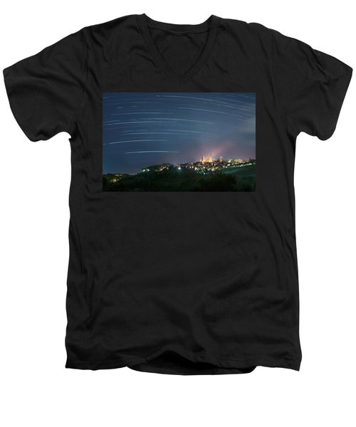 Startrails Over San Gimignano Men's V-Neck T-Shirt