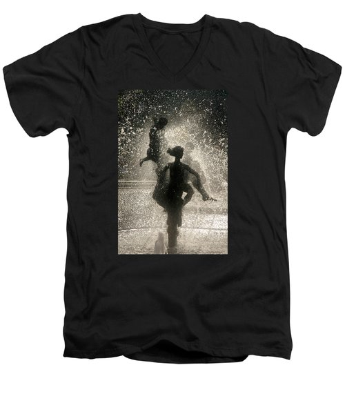 Men's V-Neck T-Shirt featuring the photograph Statue In Rostock, Germany by Jeff Burgess