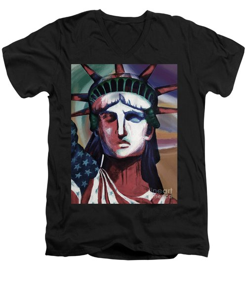 Statue Of Liberty Hb5t Men's V-Neck T-Shirt by Gull G